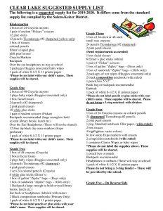 Clear Lake School Supply List