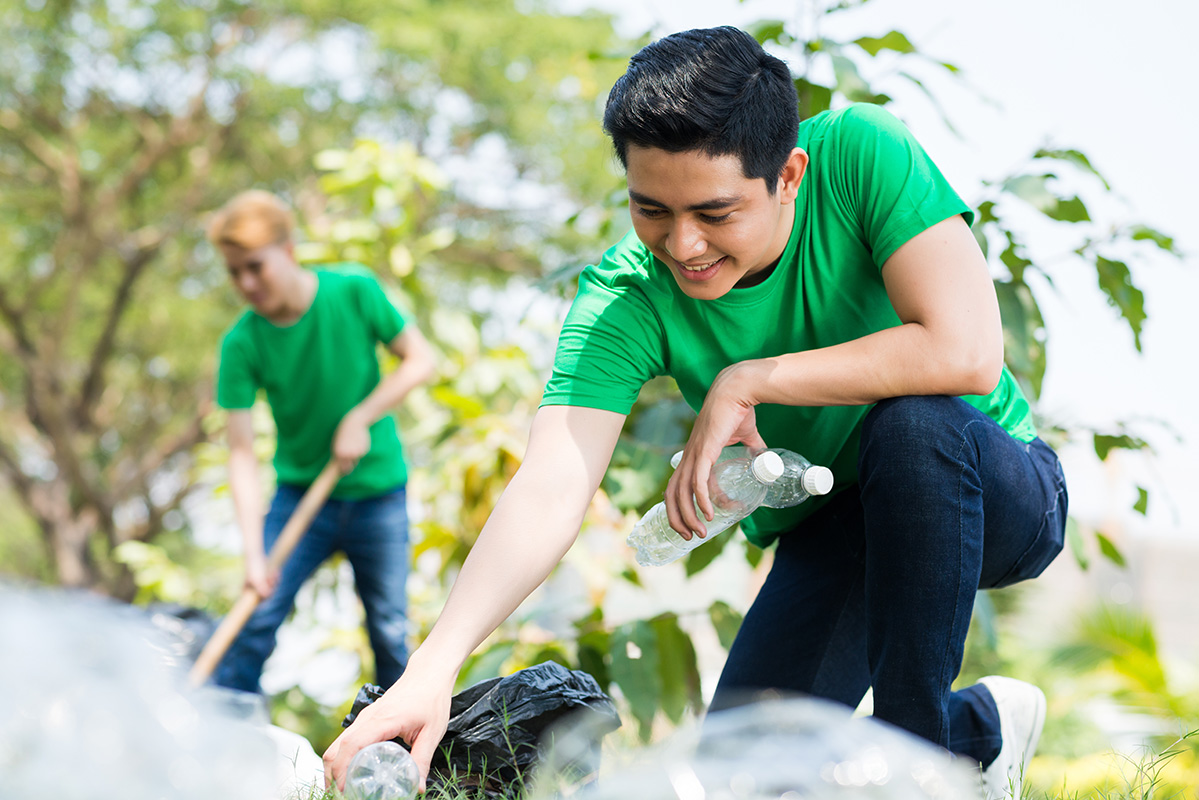 volunteer cleaning outside